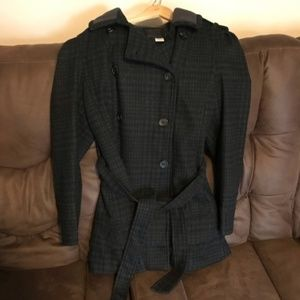 Attention Plaid Belted Peacoat Size XL